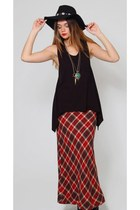 Vintage Red Plaid Maxi Skirt