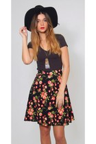 Vintage Floral Print Black Revival Mini Skirt