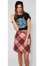 Vintage Red Plaid Wool Mini Skirt
