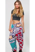 Vintage Abstract Graphic Trouser Pants