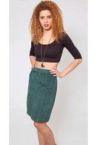 Vintage Emerald Green Suede Skirt