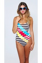 Vintage Color Block Bathing Suit