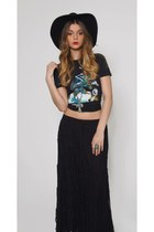 Vintage Black Crochet Maxi Skirt