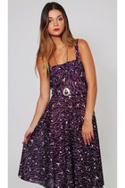 Vintage Purple Graphic Print Dress