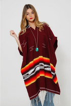 Vintage 80s Mexican Blanket Poncho