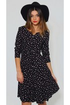 Vintage 90s Grunge Floral Black Mini Dress