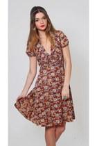 Vintage Floral Print Hippie Dress