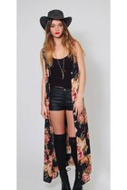 Vintage Floral Maxi Black Sheer Duster