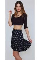 Vintage Floral Black Mini Skirt