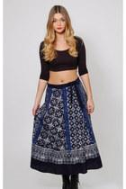 Vintage 80s Ethnic Batik Print Wrap Skirt