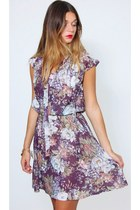 Vintage 70s Purple Floral Mini Dress