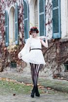 white lace Topshop dress - black ankle boots KG boots