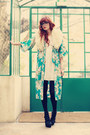 Sky-blue-kimono-vintage-cardigan-black-gucci-sandals