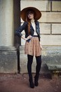 Black-booties-kg-boots-tawny-vintage-hat-black-leather-topshop-jacket