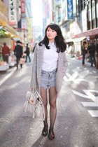 heather gray coat - white bag - sky blue denim shorts - white asos blouse