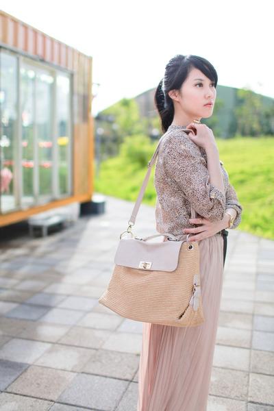camel leopard print Zara blouse - light pink maxi skirt Pazzo skirt
