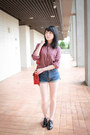 Ruby-red-cambridge-satchel-bag-navy-denim-shorts-black-loafers