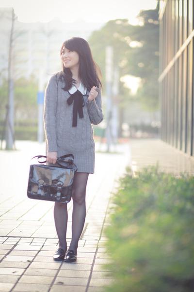 gray dress - black H&M bag