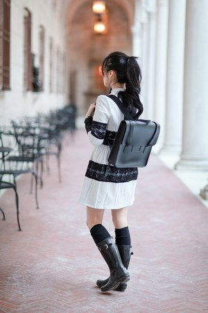 black Hunter boots - white Sister Jane dress - black cambridge satchel bag