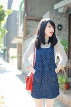navy dotted pinafore asos dress - ruby red cambridge satchel bag