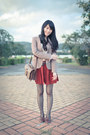 Brick-red-chidori-pattwen-zara-blazer-dark-brown-retro-thrifted-bag
