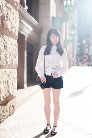 navy Zara bag - navy Uniqlo shorts - white Dahlia blouse