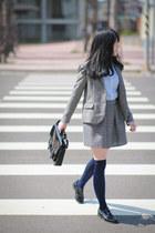 black H&M bag - charcoal gray Zara blazer - silver Forever 21 necklace
