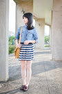 Mustard-bag-light-blue-denim-blouse-navy-skirt-crimson-loafers