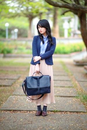 navy Zara blazer - periwinkle ginham H&M shirt - navy Zara bag
