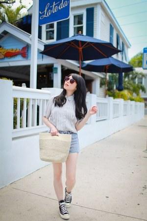 silver chiffon asos shirt - beige straw H&M bag