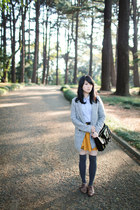 silver coat - black H&M bag - gold Topshop skirt - sky blue blouse