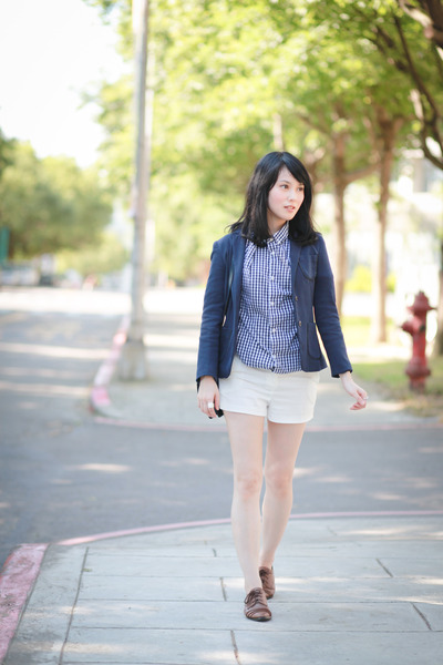 navy Zara blazer - blue H&M shirt - white Mango shorts