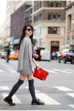 black Dr Martens shoes - silver coat - black striped asos sweater