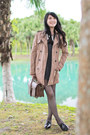 Charcoal-gray-dress-tan-zara-coat-brown-thrifted-bag-black-loafers