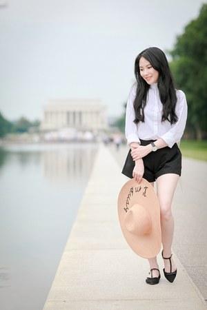 tan asos hat - white backpack cambridge satchel bag - black Dahlia shorts