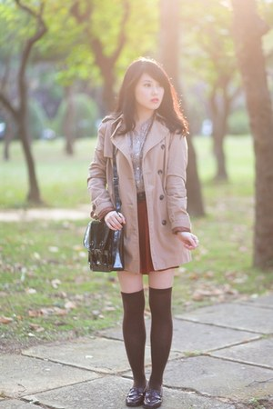 tan trench Zara coat - black satchel H&M bag - camel leopard print Zara blouse