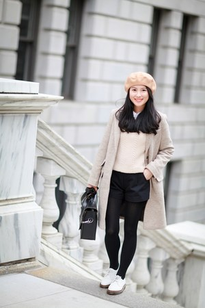 white Dr Martens shoes - beige asos coat - tan Zara hat - nude madewell sweater