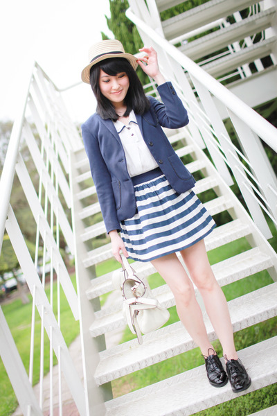 navy Zara blazer - white bag - blue striped Zara Kids skirt - black loafers