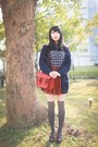 Navy-muji-shirt-ruby-red-cambridge-satchel-bag-gray-socks-navy-cardigan