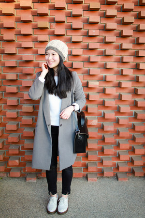 heather gray asos coat - white Dr Martens shoes - black Zara jeans