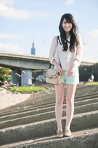 cream blouse - beige Forever 21 shoes - beige Mango bag - aquamarine shorts
