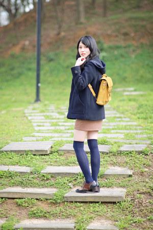 navy Zara coat - light yellow bag - brown mini skirt - navy loafers