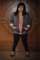 heather gray Guess blazer - coral Bayo top - black Promod tights - black Christi