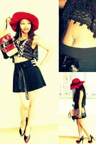 red hat - purse - vintage vest - OBR skirt