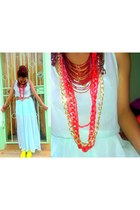 dark red beads necklace - necklace - dress - belt - neon shoes flats