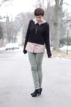 olive green pants - black H&M sweater - neutral vintage shirt