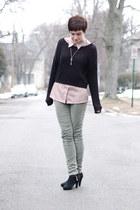 olive green pants - black H&M sweater - neutral vintage shirt
