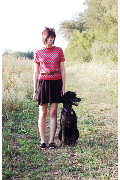 red vintage shirt - black Target skirt - black BC shoes shoes