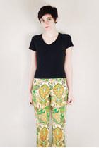 chartreuse paisley vintage pants