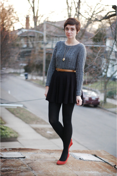 heather gray OASAP sweater - black vintage skirt - red Express wedges